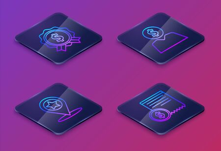 Set Isometric line Price tag with dollar, Map pointer with star, Business man planning mind and Paper check and financial check. Blue square button. Vector