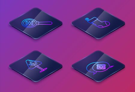 Set Isometric line Magnifying glass with snowflake, Christmas tree, Christmas stocking and Snowflake with speech bubble. Blue square button. Vector 일러스트