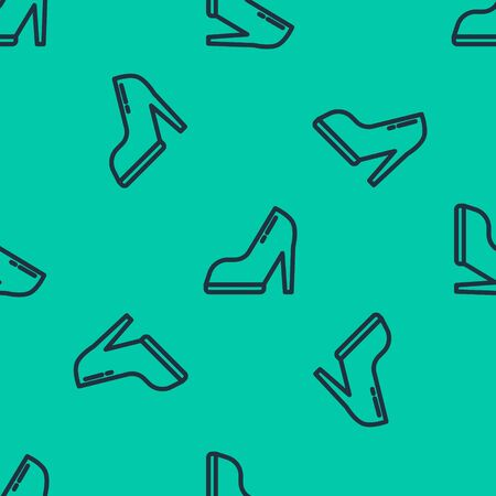 Blue line Woman shoe with high heel icon isolated seamless pattern on green background. Vector Illustration