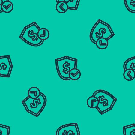 Blue line Shield with dollar symbol icon isolated seamless pattern on green background. Security shield protection. Money security concept. Vector Illustration