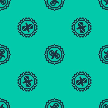 Blue line Discount percent tag icon isolated seamless pattern on green background. Shopping tag sign. Special offer sign. Discount coupons symbol. Vector Illustration