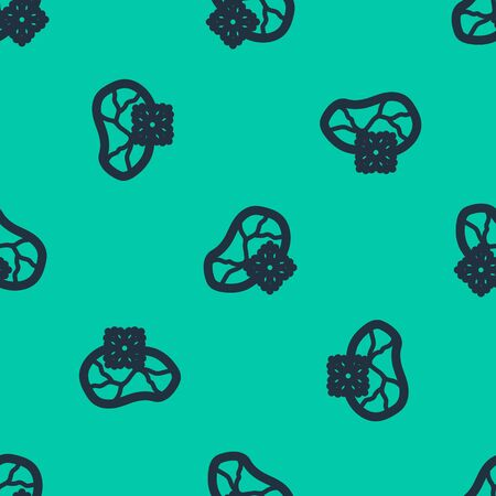 Blue line Fresh frozen steak meat icon isolated seamless pattern on green background. Vector Illustration