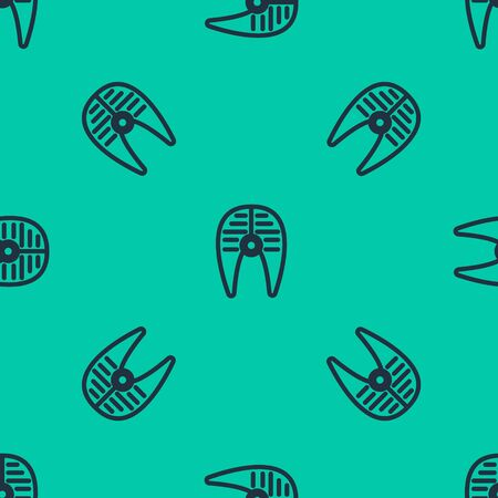 Blue line Fish steak icon isolated seamless pattern on green background. Vector Illustration