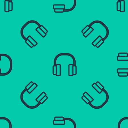 Blue line Headphones icon isolated seamless pattern on green background. Earphones. Concept for listening to music, service, communication and operator. Vector Illustration Banque d'images - 140222230