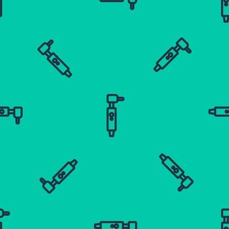 Blue line Tooth drill icon isolated seamless pattern on green background. Dental handpiece for drilling and grinding tools. Vector Illustration Иллюстрация