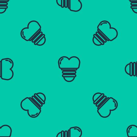 Blue line Dental implant icon isolated seamless pattern on green background. Vector Illustration 向量圖像