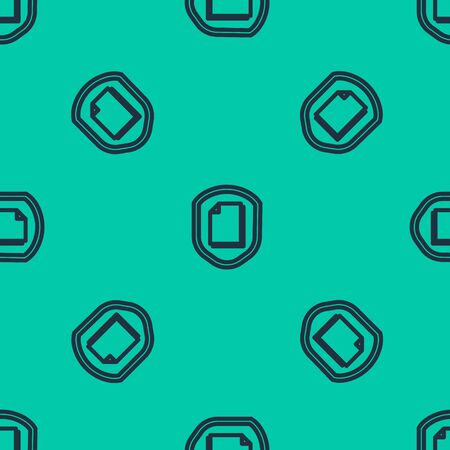 Blue line Document protection concept icon isolated seamless pattern on green background. Confidential information and privacy idea, secure, guard, shield. Vector Illustration