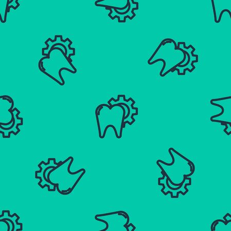 Blue line Tooth treatment procedure icon isolated seamless pattern on green background. Tooth repair with gear. Vector Illustration