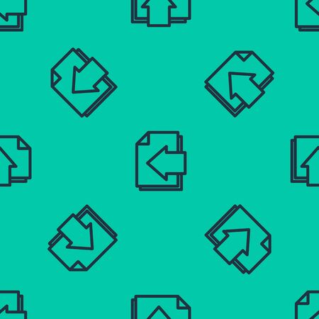 Blue line Next page arrow icon isolated seamless pattern on green background. Document file with arrow. Send document. Vector Illustration