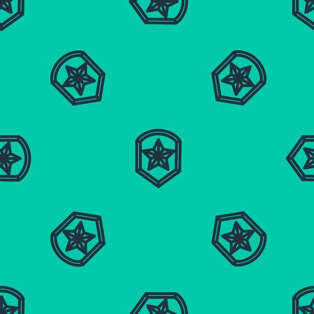 Blue line Police badge icon isolated seamless pattern on green background. Sheriff badge sign. Shield with star symbol. Vector Illustration