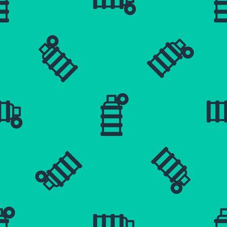 Blue line Hand grenade icon isolated seamless pattern on green background. Bomb explosion. Vector Illustration Ilustração