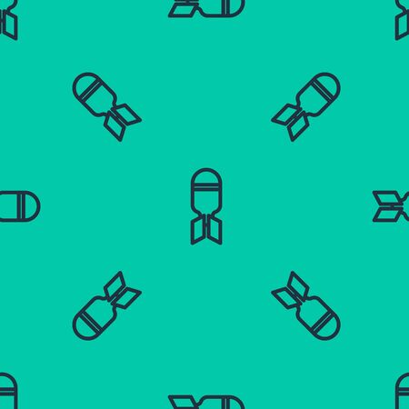 Blue line Aviation bomb icon isolated seamless pattern on green background. Rocket bomb flies down. Vector Illustration