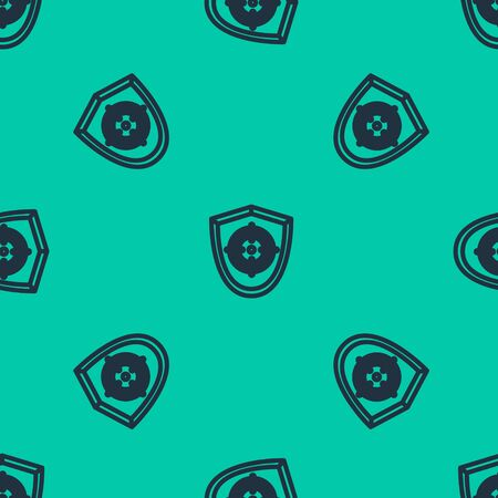 Blue line Target sport icon isolated seamless pattern on green background. Clean target with numbers for shooting range or shooting. Vector Illustration Vettoriali