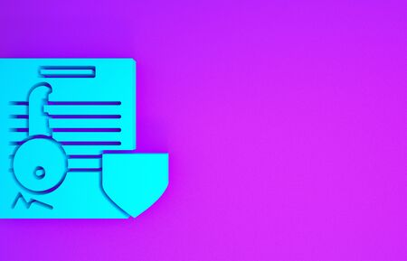 Blue Document with key with shield icon isolated on purple background. Key insurance. Security, safety, protection, protect concept. Minimalism concept. 3d illustration 3D render