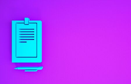 Blue Clipboard with document icon isolated on purple background. Minimalism concept. 3d illustration 3D render Reklamní fotografie