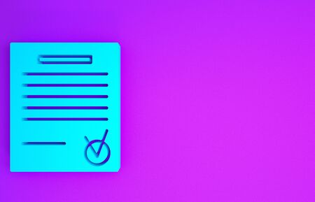 Blue Confirmed document and check mark icon isolated on purple background. Checklist icon. Business concept. Minimalism concept. 3d illustration 3D render