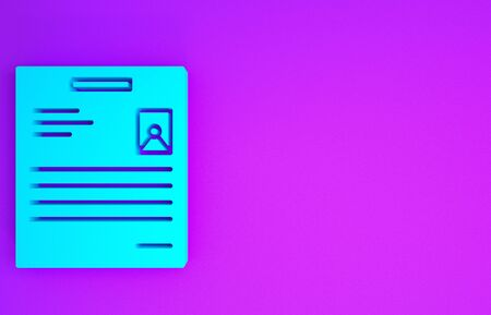 Blue Personal document icon isolated on purple background. File icon. Checklist icon. Business concept. Minimalism concept. 3d illustration 3D render