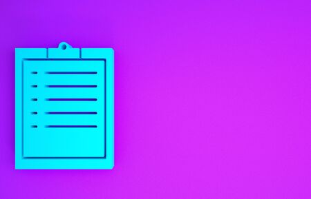 Blue Clipboard with checklist icon isolated on purple background. Minimalism concept. 3d illustration 3D render