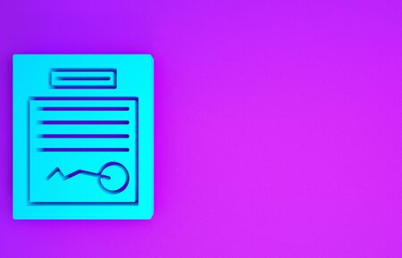 Blue Filled form icon isolated on purple background. File icon. Checklist icon. Business concept. Minimalism concept. 3d illustration 3D render Reklamní fotografie