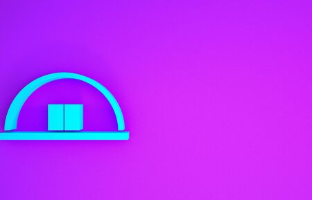 Blue Hangar icon isolated on purple background. Minimalism concept. 3d illustration 3D render