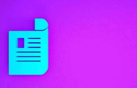 Blue Document icon isolated on purple background. File icon. Checklist icon. Business concept. Minimalism concept. 3d illustration 3D render Reklamní fotografie