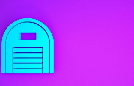 Blue Warehouse icon isolated on purple background. Minimalism concept. 3d illustration 3D render