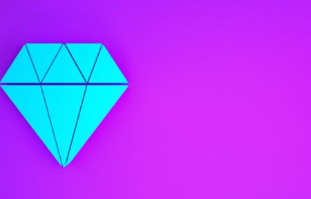 Blue Diamond icon isolated on purple background. Jewelry symbol. Gem stone. Minimalism concept. 3d illustration 3D render