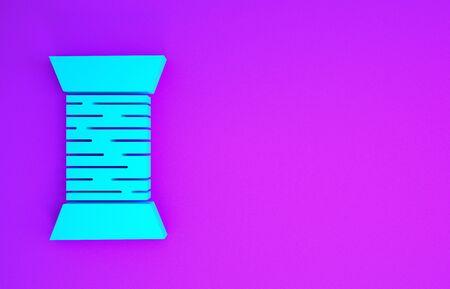 Blue Sewing thread on spool icon isolated on purple background. Yarn spool. Thread bobbin. Minimalism concept. 3d illustration 3D render Banco de Imagens