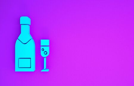 Blue Champagne bottle and glass of champagne icon isolated on purple background. Merry Christmas and Happy New Year. Minimalism concept. 3d illustration 3D render Stockfoto