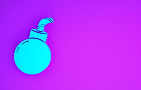 Blue Bomb ready to explode icon isolated on purple background. Happy Halloween party. Minimalism concept. 3d illustration 3D render