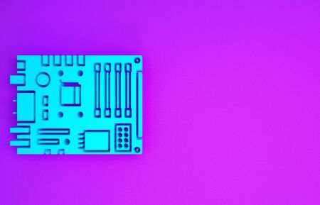 Blue Electronic computer components motherboard digital chip integrated science icon isolated on purple background. Circuit board. Minimalism concept. 3d illustration 3D render Stock Photo