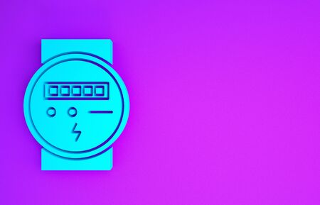 Blue Electric meter icon isolated on purple background. Minimalism concept. 3d illustration 3D render