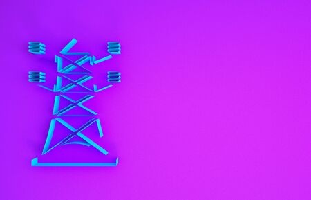 Blue Electric tower used to support an overhead power line icon isolated on purple background. High voltage power pole line. Minimalism concept. 3d illustration 3D render