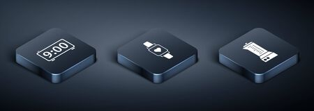 Set Isometric Digital alarm clock , Blender and Smart watch showing heart beat rate icon. Vector