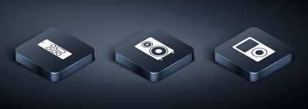 Set Isometric Remote control , Music player and Stereo speaker icon. Vector