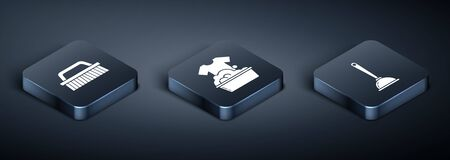 Set Isometric Brush for cleaning , Toilet plunger and Plastic basin with soap suds icon. Vector