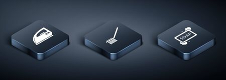 Set Isometric Electric iron , Bar of soap with foam and Toilet brush icon. Vector