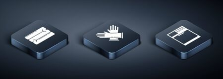 Set Isometric Towel stack , Washer and Rubber gloves icon. Vector