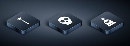 Set Isometric Magic wand , Tombstone with RIP and Skull icon. Vector