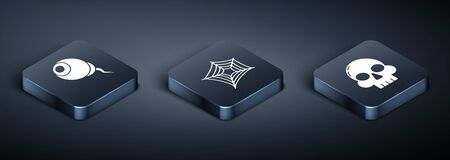 Set Isometric Eye , Skull and Spider web icon. Vector  イラスト・ベクター素材