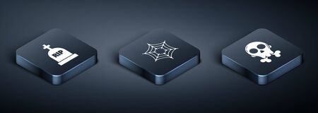Set Isometric Tombstone with RIP, Skull on crossbones and Spider web icon. Vector