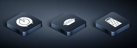 Set Isometric Kitchen timer , Grater and Homemade pie icon. Vector Ilustrace