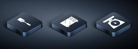 Set Isometric Spatula , Scales and Microwave oven icon. Vector
