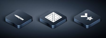 Set Isometric Military knife , Military reward medal and Military ammunition box icon. Vector