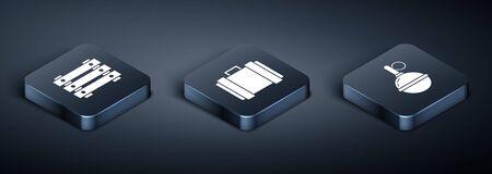 Set Isometric Military ammunition box, Hand grenade and Military ammunition box icon. Vector