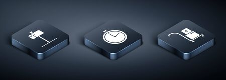 Set Isometric Open mail box , Hand truck and boxes and Stopwatch icon. Vector Ilustrace