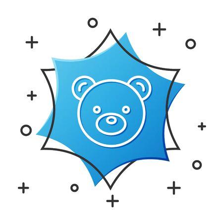 White line Teddy bear plush toy icon isolated on white background. Blue hexagon button. Vector Illustration