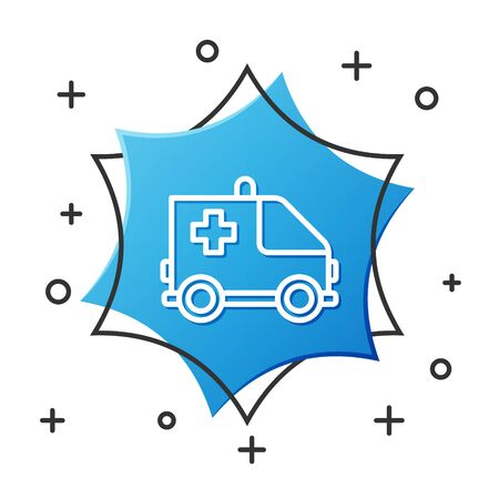 White line Ambulance and emergency car icon isolated on white background. Ambulance vehicle medical evacuation. Blue hexagon button. Vector Illustration