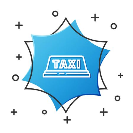 White line Taxi car roof icon isolated on white background. Blue hexagon button. Vector Illustration