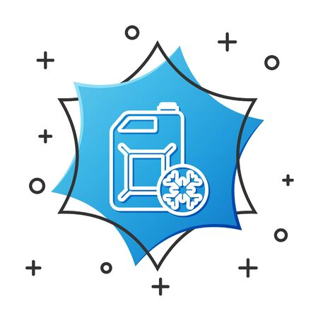 White line Antifreeze canister icon isolated on white background. Auto service. Car repair. Blue hexagon button. Vector Illustration